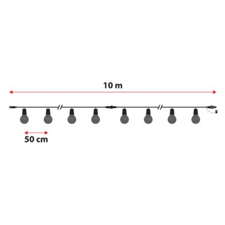 Guirlande guinguette connectable noir dimensions