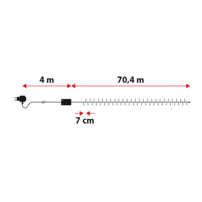 Guirlande 70M câble vert dimensions