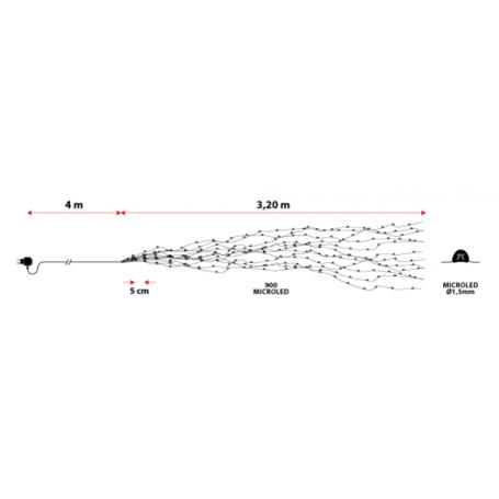 Cascade lumineuse LED 3M 15 branches professionnel dimension
