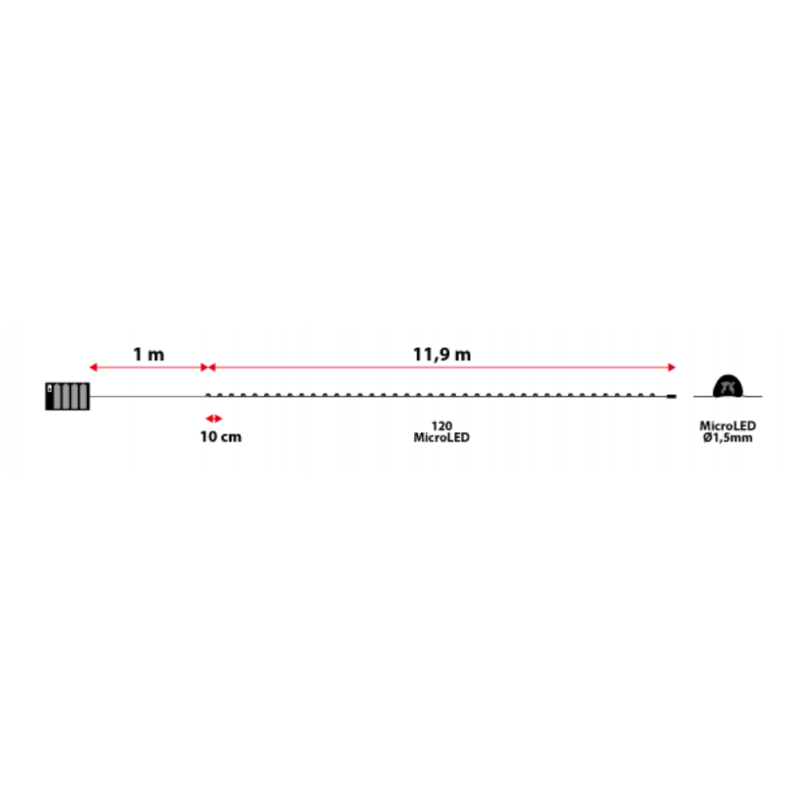 Guirlande lumineuse piles 12M dimensions
