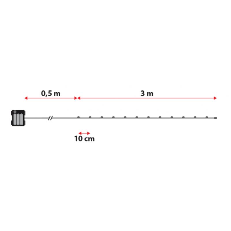 Guirlande piles extérieur 3M flash étanches professionnel dimensions techniques