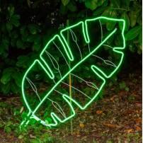 Lampe néon déco feuille tropicale verte professionnel