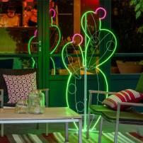 Lampe néon déco figuier de barbarie en pot vert / blanc chaud / rose professionnel