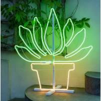 Lampe plante en pot blanc chaud / vert professionnel