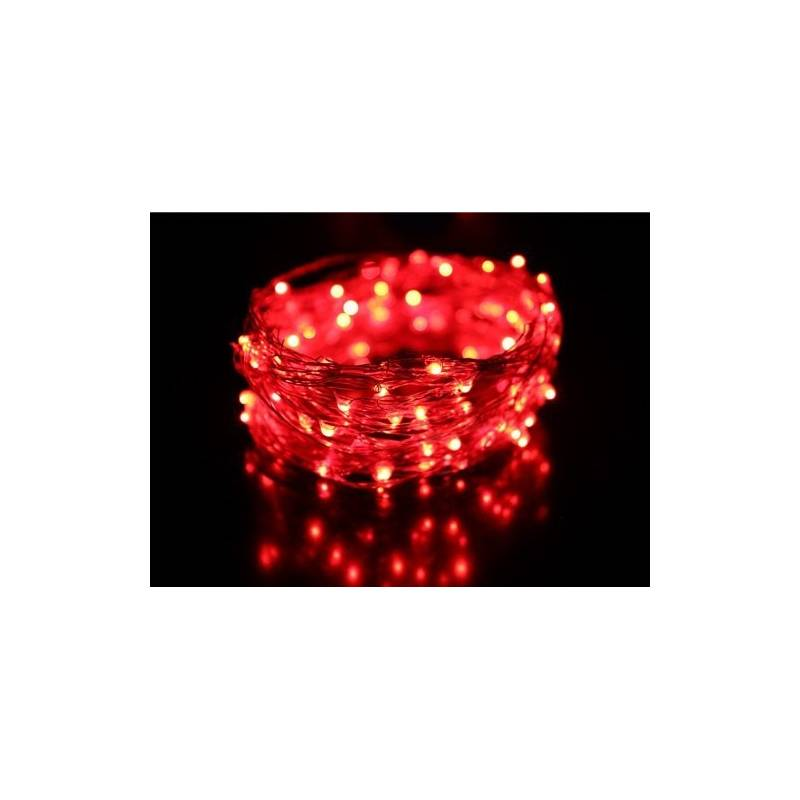 guirlande lumineuse led 8m rouge c ble transparent. Black Bedroom Furniture Sets. Home Design Ideas