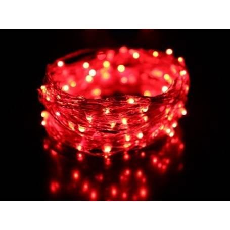 Guirlande lumineuse led 8 mètres Rouge câble Transparent