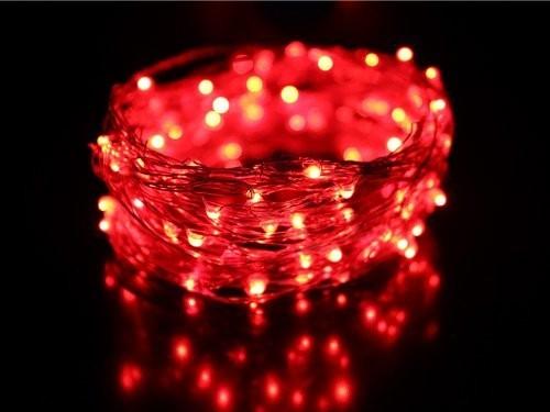 guirlande lumineuse led 8m rouge c ble transparent professionnelle. Black Bedroom Furniture Sets. Home Design Ideas