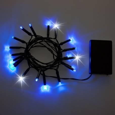 Guirlande 20 LED bleues et blanches flash à piles 2M de long cable vert