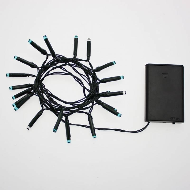 Guirlande 20 LED bleues et blanches flash à piles 2M de long cable vert professionnel