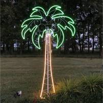 Lampe néon déco palmier XL 200x120 cm 1096 leds smd blanc chaud / vert professionnel