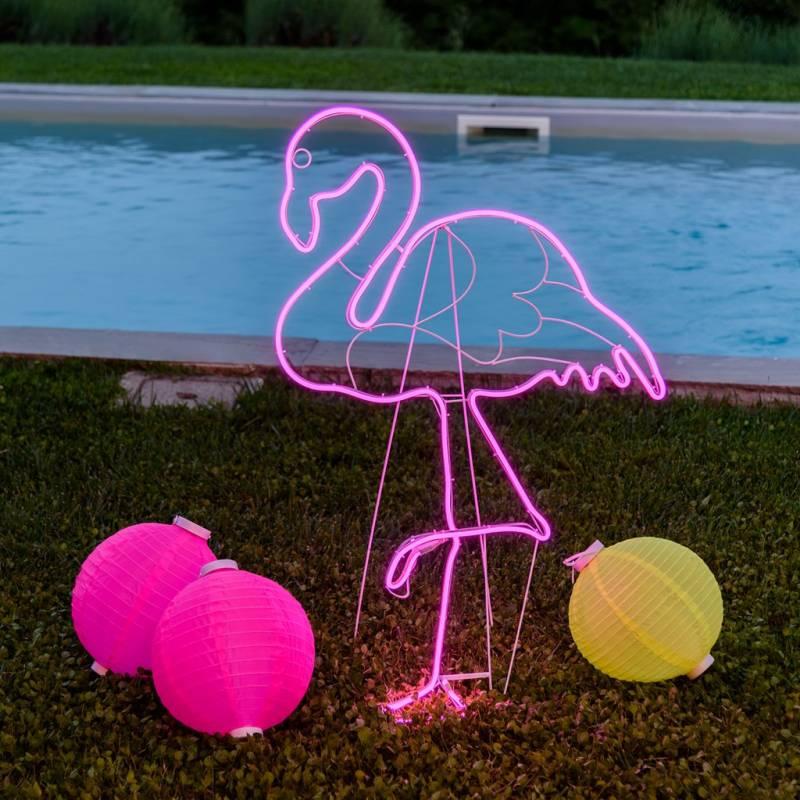 Lampe néon deco flamant rose 480 LED H115CM par 2 extérieur côtè droit professionnel