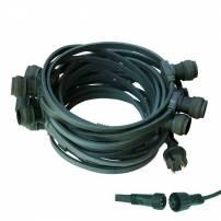 Guirlande Guinguette câble vert 10M 10 culots E27 raccordable professionnelle