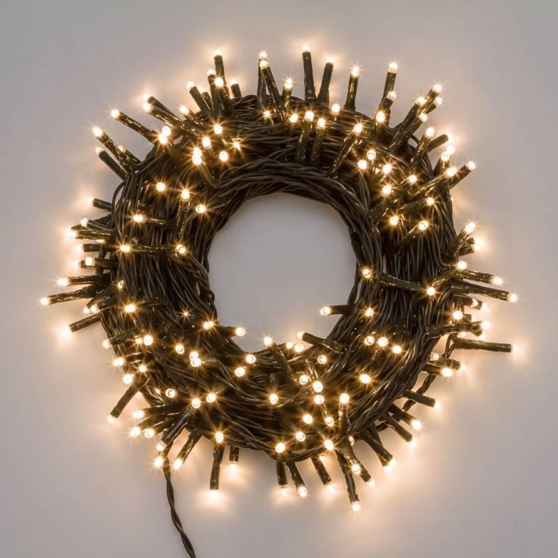 Guirlande lumineuse dimmable et animées 400 LED blanc chaud 28 mètres extérieur professionnel
