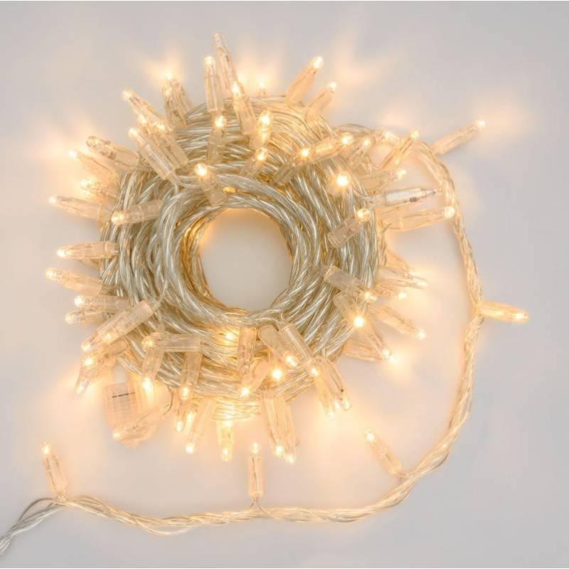Guirlande lumineuse 10M extensible 96 LED Blanc chaud 8 programmes cable transparent 24V professionnel