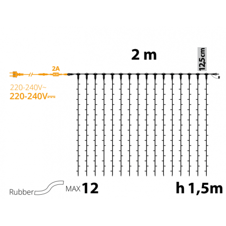 Rideaux lumineux led 1.5M hauteur Blanc chaud professionnel ILLUPRO 230V professionnel