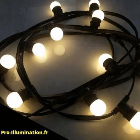 Guirlande Guinguette 10M 20 ampoules led E27 blanc chaud professionnelle professionnel