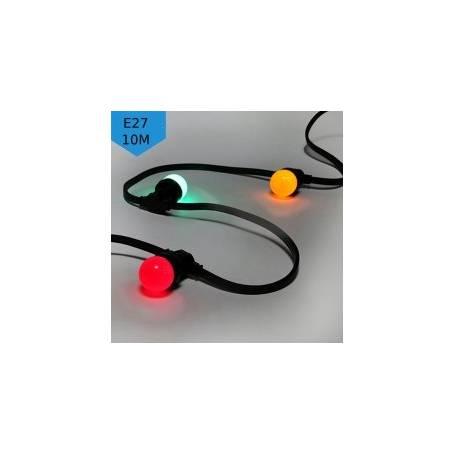 Guirlande guinguette 20 ampoules multicolore E27 10M