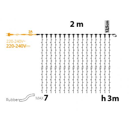 Rideaux lumineux led 3M dimensions prolongeable professionnel