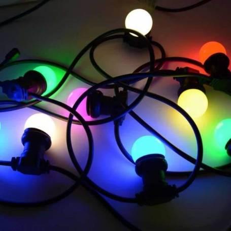 Guirlande 10 ampoules multicolores E27 5M extérieures professionnel