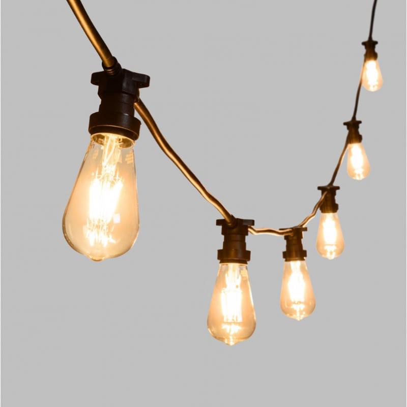 Guirlande ampoule vintage ST64 10M connectable extérieure câble noir professionnel