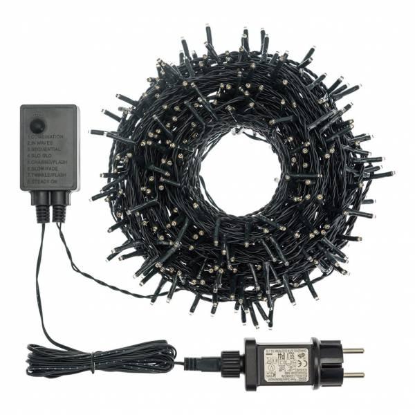 Guirlande 360miniLED blanc chaud 25 m câble vert foncé 8 programmes d'animation