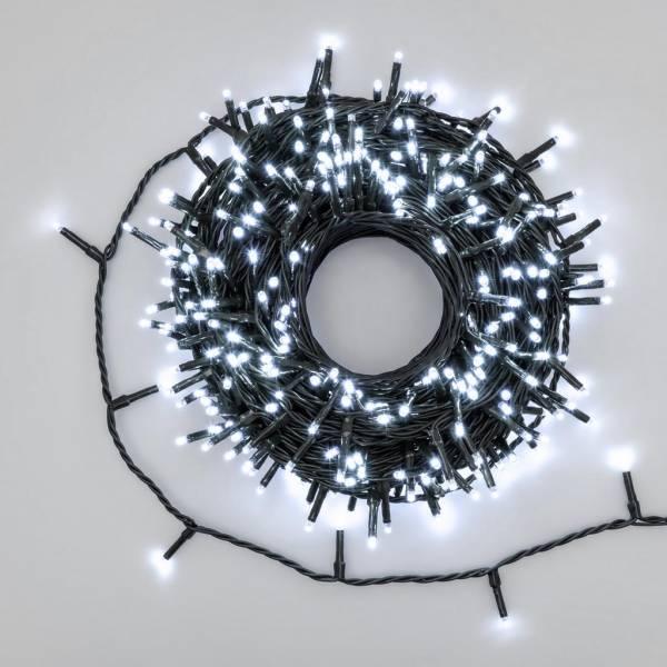Guirlande lumineuse blanc froid 25 mètres 360miniLED 8 fonctions d'animation câble vert foncé
