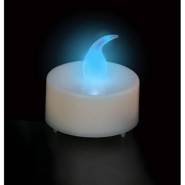 Bougie LED chauffe plat Bleu à pile