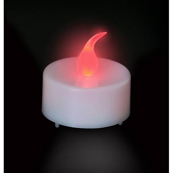 Bougie led rouge avec photophore couleur verre dépoli