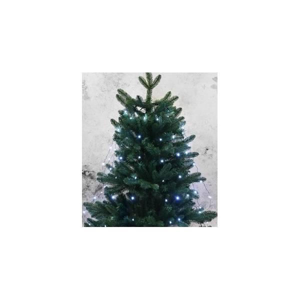 Guirlande sapin de Noël 10 fils microLED Blanc froid 1.50 M câble noir rideau