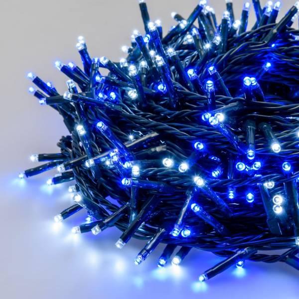 Guirlande 13m 180 miniLED blanc froid et bleu 8 jeux de lumière câble vert