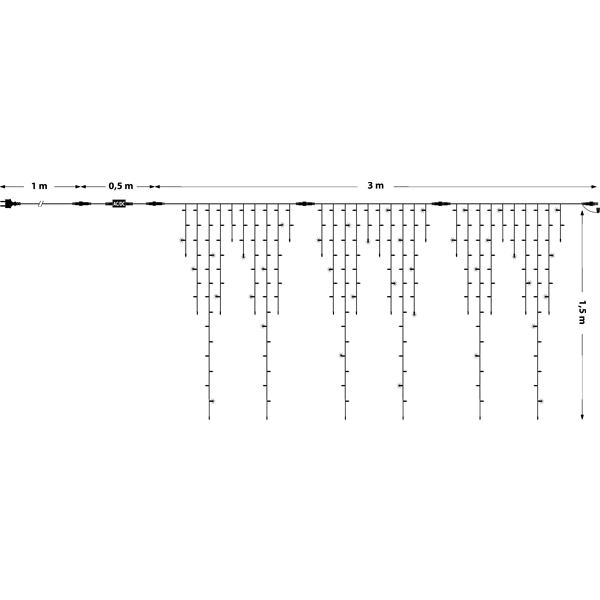 Guirlande stalactite 3M H 1.5M raccordable 228 MaxiLED blanc froid avec clignotement 230V ILLUPRO