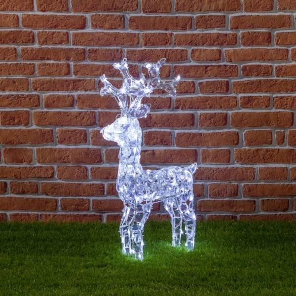 Renne lumineux noël extérieur 3D 100 LED blanc acrylique 70CM de haut