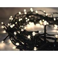 Guirlande lumineuse led 16 mètres blanc chaud câble vert