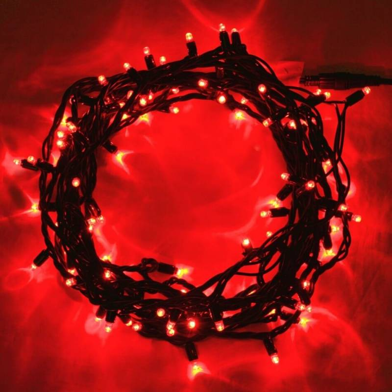 Guirlande lumineuse led 16 mètres Rouge câble vert