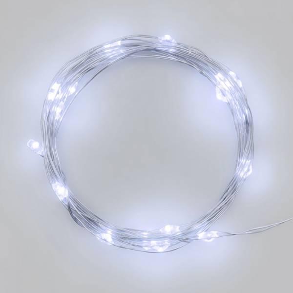 Guirlande lumineuse piles 2M 20 Micro LED blanc froid câble argent