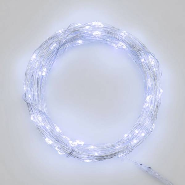 Guirlande lumineuse piles 12M 120 Micro LED blanc froid