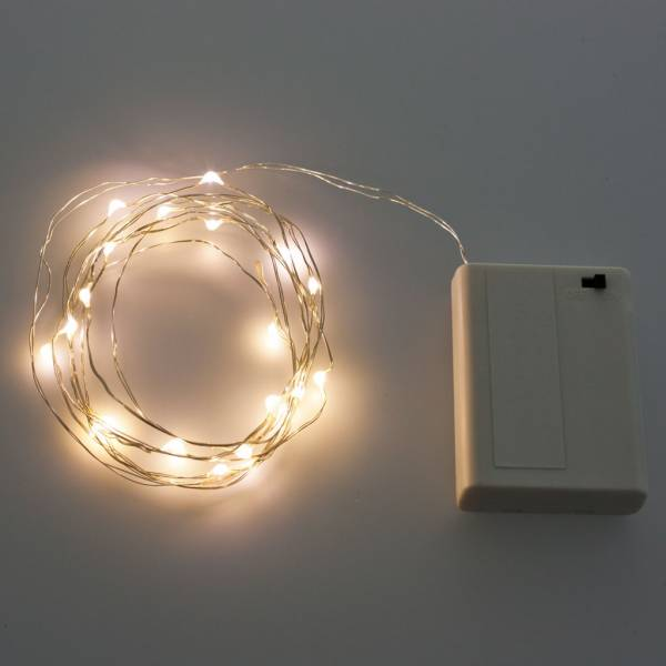 Guirlande lumineuse piles 2M 20 Micro LED blanc chaud câble argenté