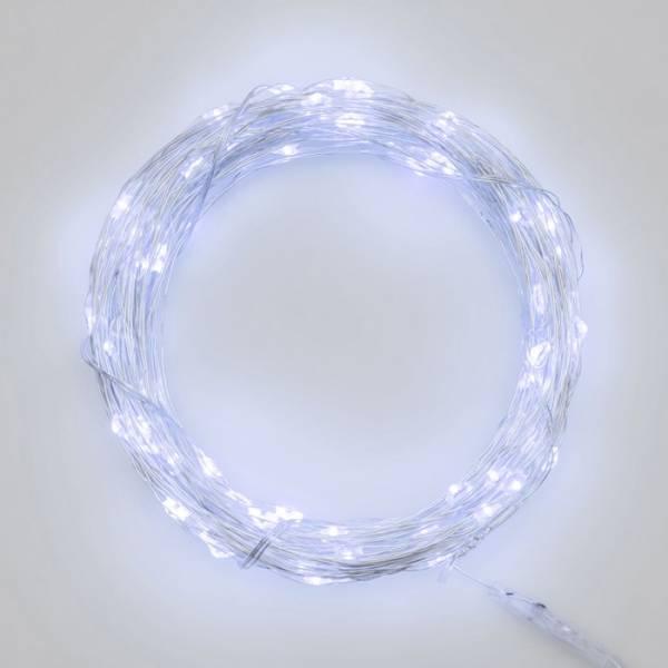 Guirlande lumineuse piles 4M 40 Micro LED blanc froid intérieur