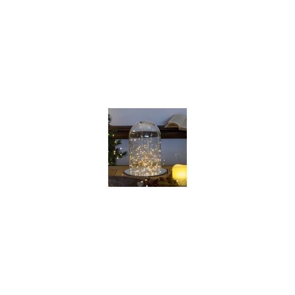 Guirlande piles 10 mètres 100 micro led bland chaud dimmable animée télécommande extérieur mariage vase composition