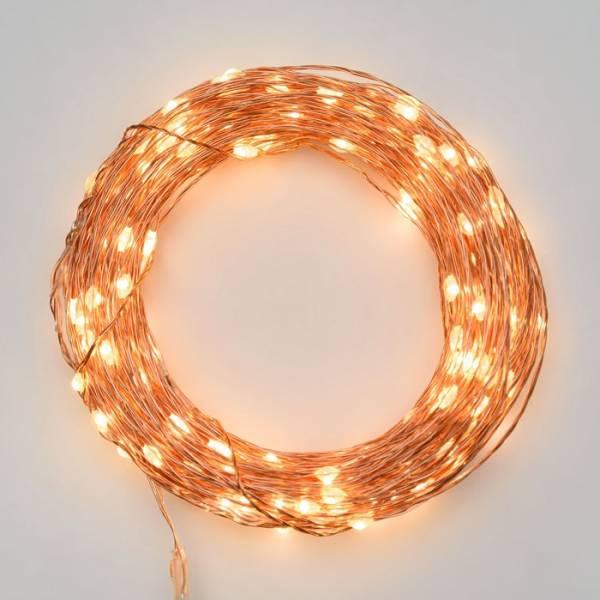 Guirlande lumineuse piles 20 mètres extérieur blanc chaud