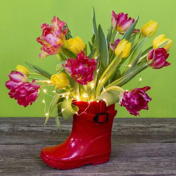 Mini cascade lumineuse piles vase fleurs décoration
