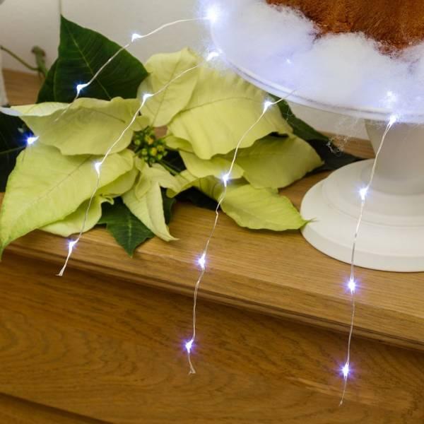 Mini cascade lumineuse piles blanc froid LED composition florale mariage mèche lumineuse