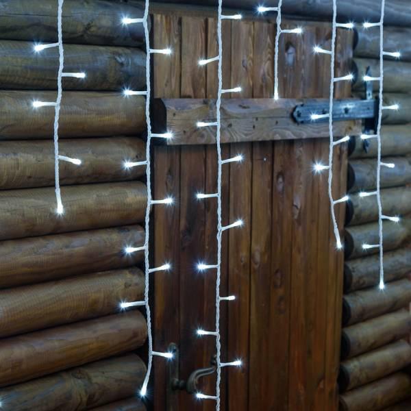 Guirlande stalactite H120cm 4 mètres effet chute de neige 480 LED blanc froid câble blanc 230 V