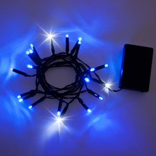 Guirlande 20 LED bleues et blanches flash à piles 2M de long cable vert