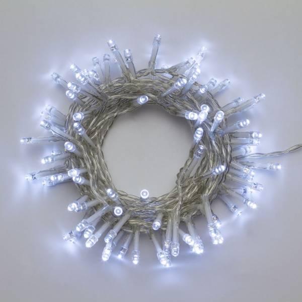 Guirlande à piles 96 ampoules led 4,75 mètres blanc froid extérieur IP44 Minuteur