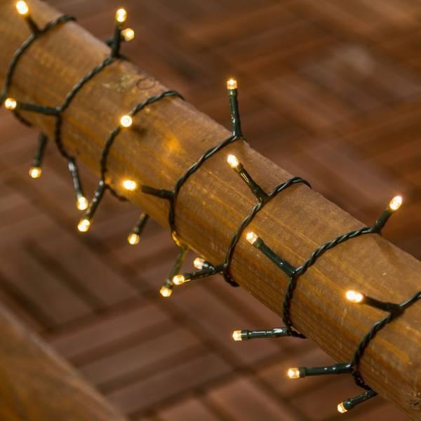 Guirlande 180 led piles 7.15 mètres blanc chaud câble vert  extérieur IP44 sapin noël sans prise
