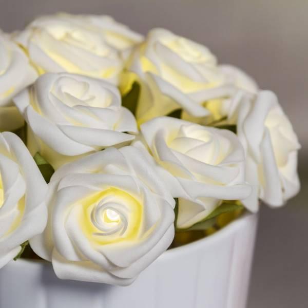 Guirlande led roses decorative 1.35m à piles blanc chaud décoration composition florale mariage