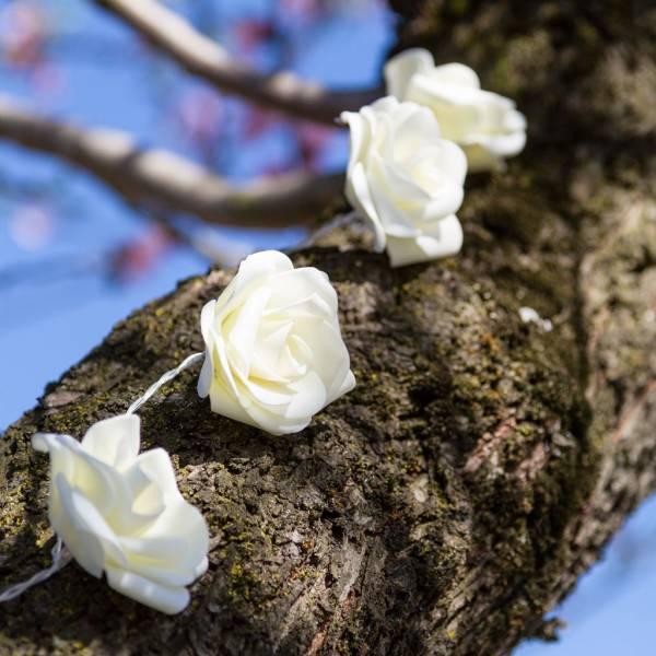 Guirlande led roses decorative 1.35m à piles blanc chaud décoration extérieur mariage