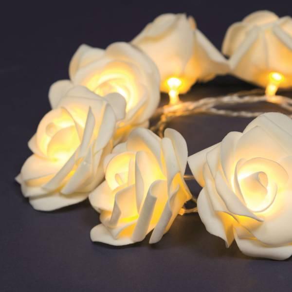 Guirlande led roses decorative 1.35m à piles blanc chaud