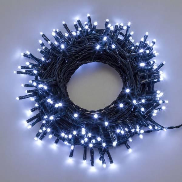 Guirlande led 50M blanc froid lumière fixe câble VERT